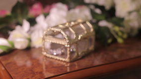 Treasure chest box with jewelry stock video footage