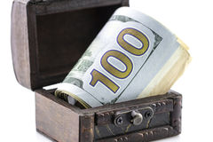 Treasure chest,the box of money,coins and dollars Stock Image