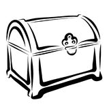 Treasure chest or box, sketch with black lines.  royalty free illustration