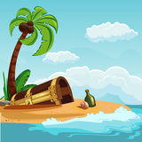 Treasure chest buried on the beach Royalty Free Stock Photography
