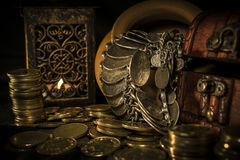 Treasure chest and candle Royalty Free Stock Photos