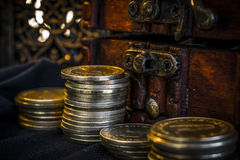 Treasure chest and candle Stock Image
