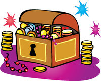 Treasure Chest. A cartoon vector illustration of a treasure chest with gold and silver coins and sparkling gems Royalty Free Stock Photos