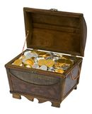Treasure Chest Of Chocolate Coins. Wooden treasure chest filled with gold & silver chocolate candy coins Royalty Free Stock Photos