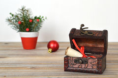 Treasure chest with Christmas letter Royalty Free Stock Photo