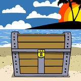 Treasure Chest closed on the beach Royalty Free Stock Photo
