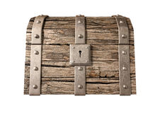 Treasure Chest Closed Front. An old classic wood and iron closed treasure chest with a metal lock on an isolated background Royalty Free Stock Images