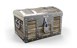 Treasure chest. Closed on white background 3D rendering stock images