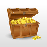 Treasure chest with coins Royalty Free Stock Images