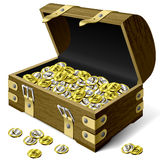 Treasure chest with coins. Vector illustration of a wooden treasure chest with money Royalty Free Stock Photos