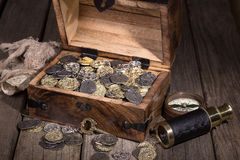 Treasure Chest with Coins Stock Images