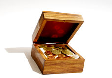 Treasure Chest Of Coins Royalty Free Stock Photos