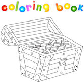 Treasure chest coloring book for kids Stock Photo