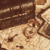 Treasure chest, compass and old map Royalty Free Stock Image