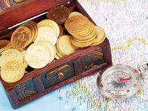 Treasure chest and compass Royalty Free Stock Photography