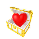 Treasure chest containing the heart Stock Photos