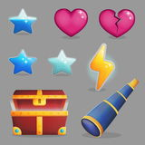 Treasure chest contents game icons. Collection of user rewards inside of a treasure chest. Life and experience icons, game achievements, opened treasure chest Royalty Free Stock Images