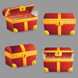 Treasure chest in different positions. Illustration of an ancient treasure chest with riches shining inside of it. Different view angles and positions. Front and Royalty Free Stock Photography