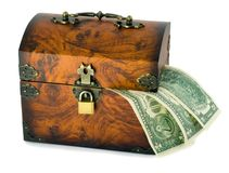 Treasure chest and dollars Royalty Free Stock Image
