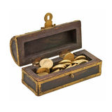 Treasure chest with doubloon Stock Photos