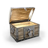 Treasure chest. Empty and open on white background 3D rendering vector illustration