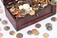 Treasure chest with euro coins  Stock Images