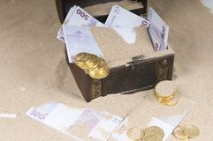 Treasure chest with euros Stock Photos