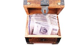 Danish money bills in a wooden chest stock photo