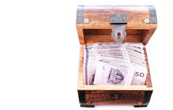 Danish money bills in a wooden chest royalty free stock images
