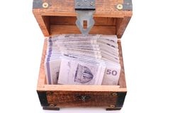 Danish money bills in a wooden chest stock photography