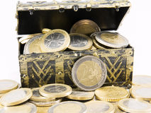 Treasure chest filled with coin, euro currency Royalty Free Stock Photo