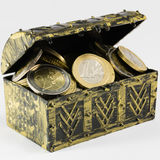 Treasure chest filled with coin, euro currency Royalty Free Stock Images