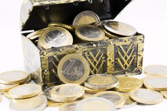 Treasure chest filled with coin, euro currency Royalty Free Stock Photography