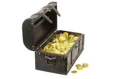 Treasure chest filled with gold coins. Close up image royalty free stock photo