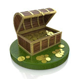 Treasure chest filled with gold coins Royalty Free Stock Image