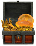 Treasure chest filled with gold and valuables Stock Photography