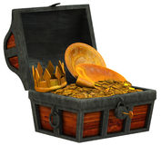 Treasure chest filled with  gold valuables Stock Image