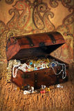Treasure chest. Filled wiht precious stones and jewelry Royalty Free Stock Images