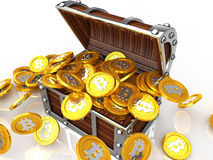 Treasure chest full of bit coin. Image of treasure chest full of bit coin Royalty Free Stock Photos
