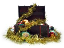 Treasure chest full of Christmas decorations Royalty Free Stock Photography