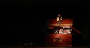 Treasure Chest Full of Coins Stock Photo
