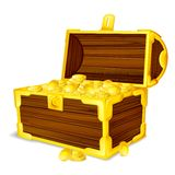 Treasure Chest full of Gold Coin Royalty Free Stock Images