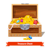 Treasure chest full of gold coins, crystal gems Royalty Free Stock Photo