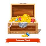 Treasure chest full of gold coins, crystal gems vector illustration