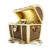 Treasure Chest. Full of gold coins isolated on white background vector illustration