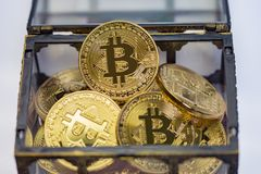 Bitcoin Treasure Chest. A treasure chest full of golden bitcoins on a clean background royalty free stock photo