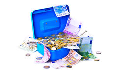 Treasure chest full of money. Royalty Free Stock Photography