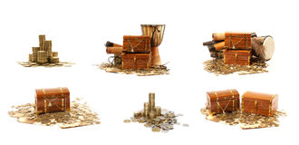 A treasure chest full of shiny coins. A golden treasure chest full of shiny coins. The image is isolated on a white background Stock Images