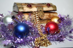 Treasure chest and gifts. A treasure chest of gifts for Christmas Royalty Free Stock Images