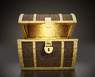 Treasure Chest. Glowing treasure chest full of treasures Royalty Free Stock Photo